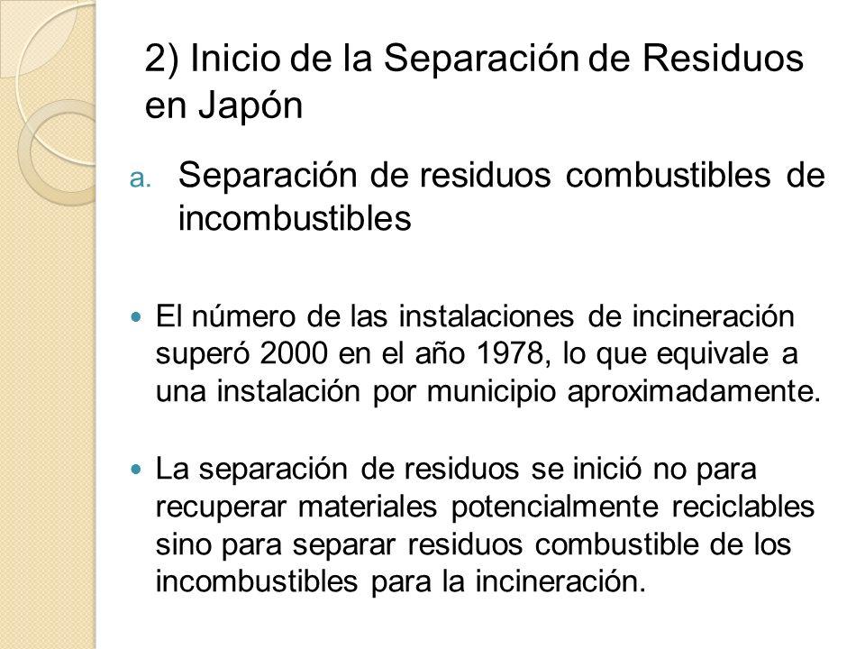 2) Inicio de la Separación de Residuos en Japón a. Separación de residuos combustibles de incombustibles El número de las instalaciones de incineració