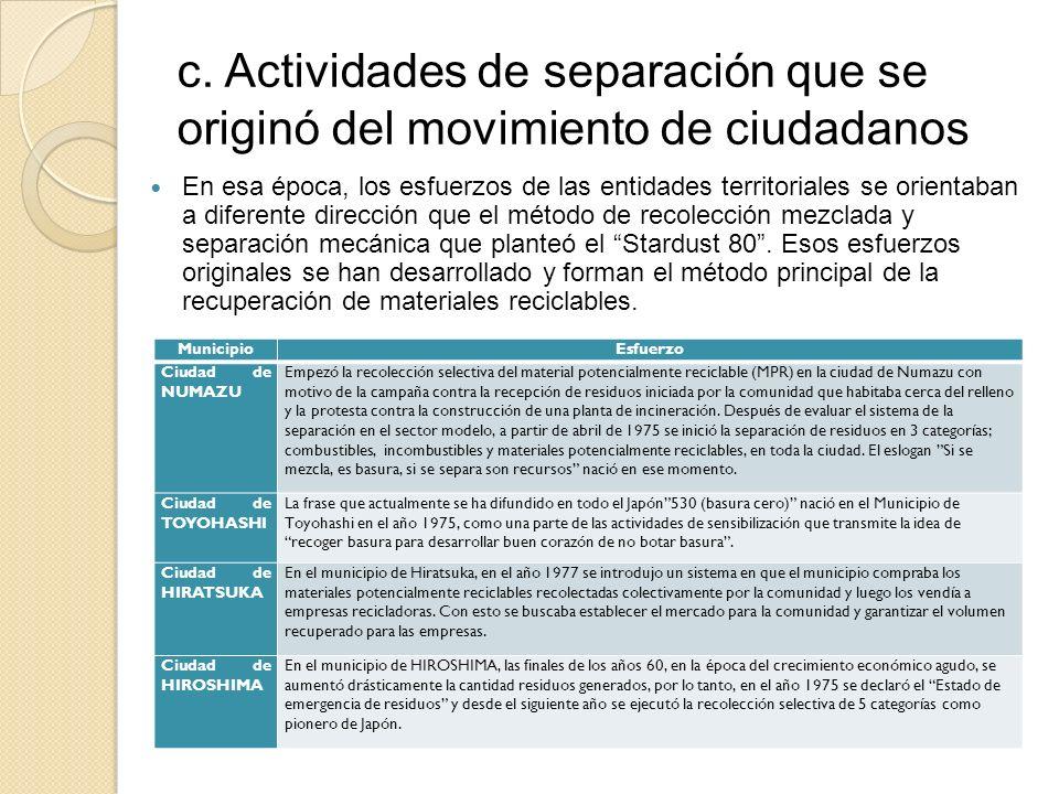 c. Actividades de separación que se originó del movimiento de ciudadanos En esa época, los esfuerzos de las entidades territoriales se orientaban a di