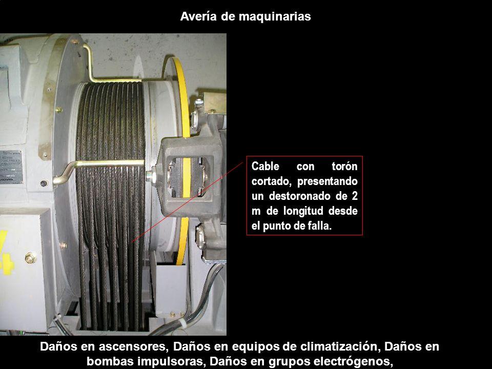 Avería de maquinarias Daños en ascensores, Daños en equipos de climatización, Daños en bombas impulsoras, Daños en grupos electrógenos, Cable con torón cortado, presentando un destoronado de 2 m de longitud desde el punto de falla.