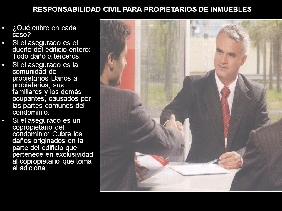RESPONSABILIDAD CIVIL PARA PROPIETARIOS DE INMUEBLES ¿Qué cubre en cada caso.