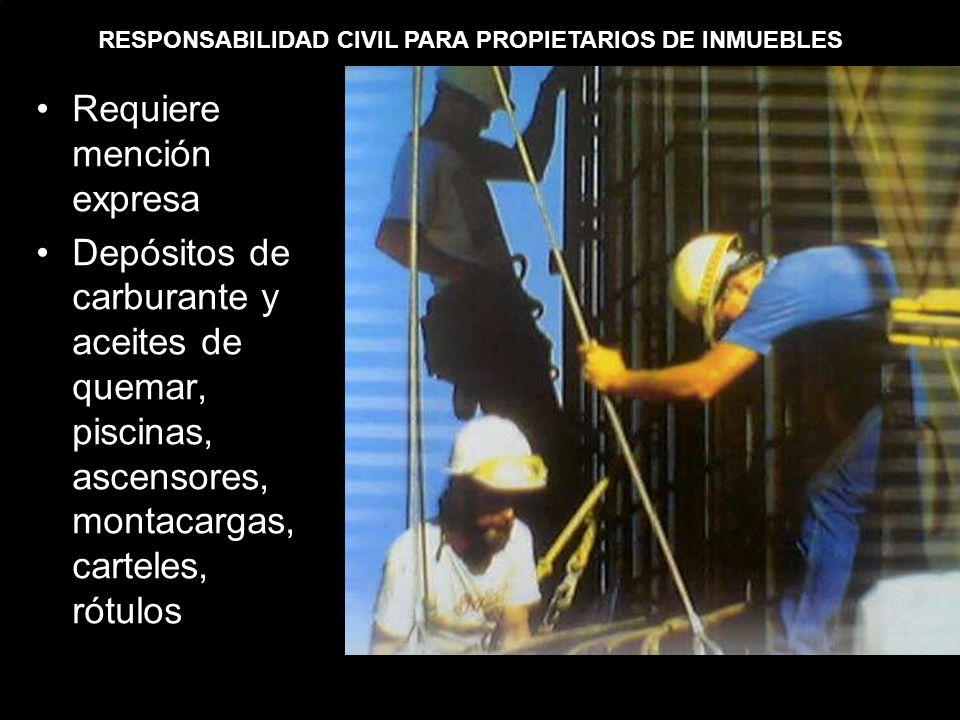 RESPONSABILIDAD CIVIL PARA PROPIETARIOS DE INMUEBLES Requiere mención expresa Depósitos de carburante y aceites de quemar, piscinas, ascensores, montacargas, carteles, rótulos