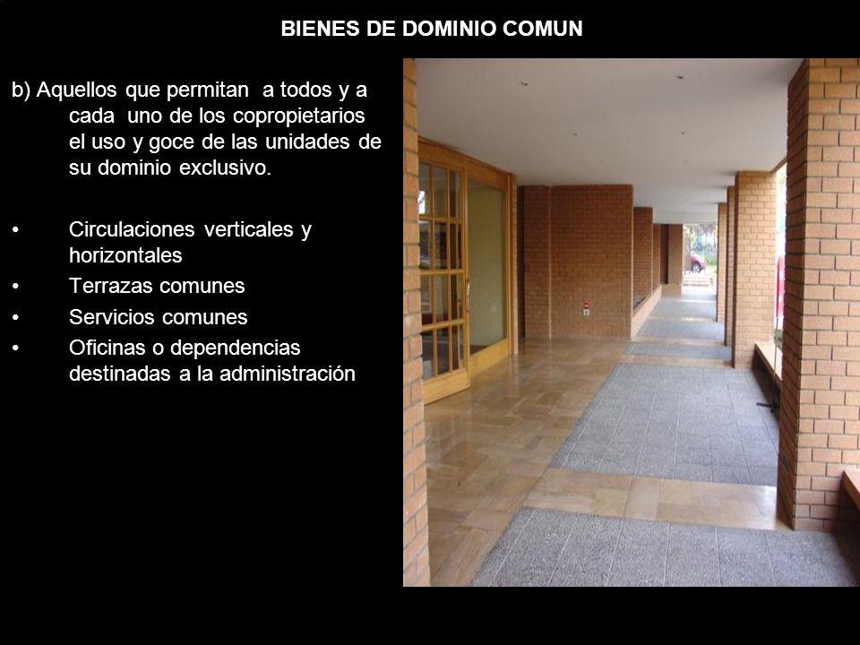 BIENES DE DOMINIO COMUN b) Aquellos que permitan a todos y a cada uno de los copropietarios el uso y goce de las unidades de su dominio exclusivo.