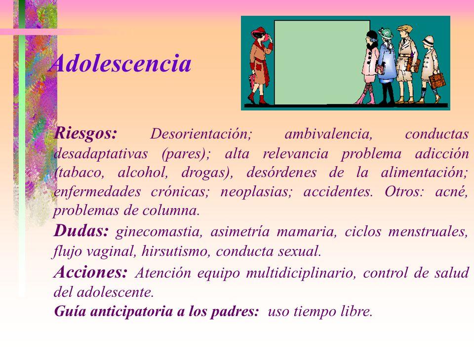 Riesgos: Desorientación; ambivalencia, conductas desadaptativas (pares); alta relevancia problema adicción (tabaco, alcohol, drogas), desórdenes de la