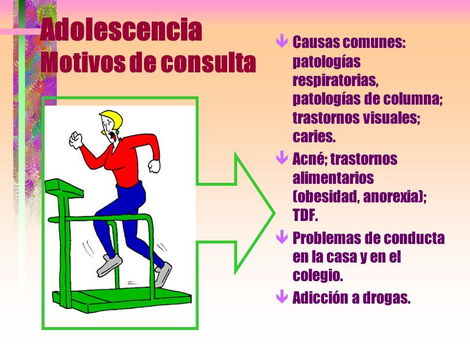 Adolescencia Motivos de consulta êCausas comunes: patologías respiratorias, patologías de columna; trastornos visuales; caries. êAcné; trastornos alim