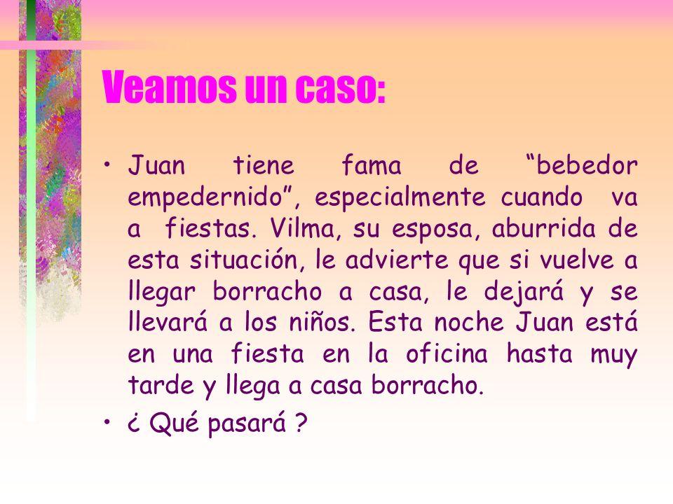 Veamos un caso: Juan tiene fama de bebedor empedernido, especialmente cuando va a fiestas. Vilma, su esposa, aburrida de esta situación, le advierte q