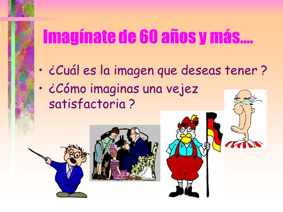 Imagínate de 60 años y más…. ¿Cuál es la imagen que deseas tener ? ¿Cómo imaginas una vejez satisfactoria ?