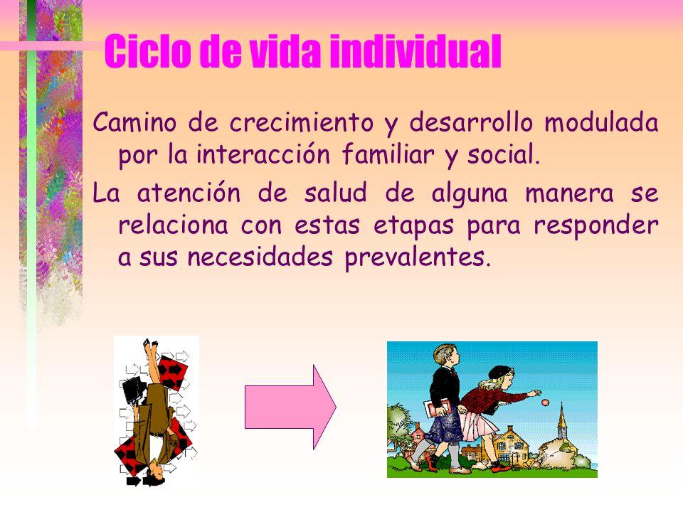 Ciclo de vida individual Camino de crecimiento y desarrollo modulada por la interacción familiar y social. La atención de salud de alguna manera se re