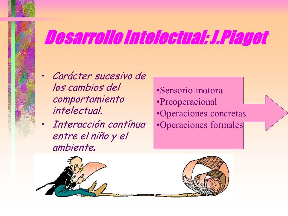 Desarrollo Intelectual: J.Piaget Carácter sucesivo de los cambios del comportamiento intelectual. Interacción contínua entre el niño y el ambiente. Se