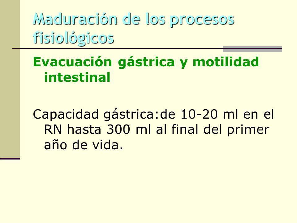 Maduración de los procesos fisiológicos Evacuación gástrica y motilidad intestinal Capacidad gástrica:de 10-20 ml en el RN hasta 300 ml al final del p