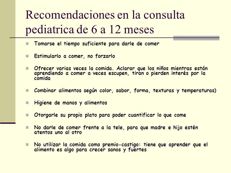 Recomendaciones en la consulta pediatrica de 6 a 12 meses Tomarse el tiempo suficiente para darle de comer Tomarse el tiempo suficiente para darle de