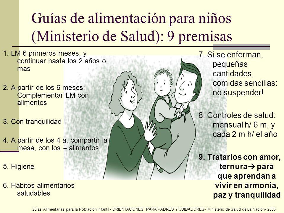 Guías de alimentación para niños (Ministerio de Salud): 9 premisas 1. LM 6 primeros meses, y continuar hasta los 2 años o mas 2. A partir de los 6 mes