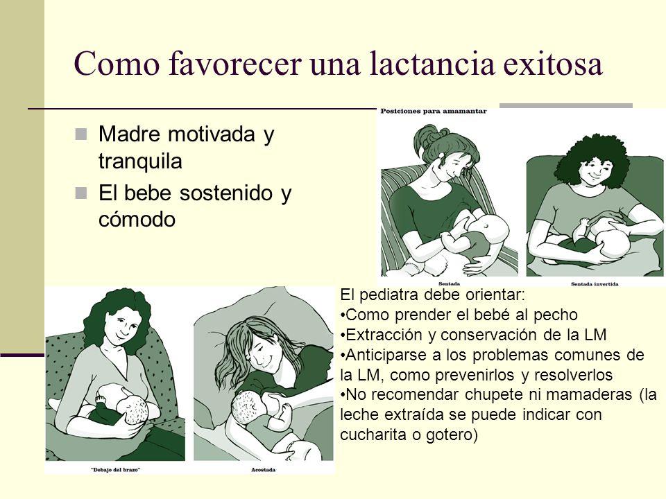 Como favorecer una lactancia exitosa Madre motivada y tranquila El bebe sostenido y cómodo El pediatra debe orientar: Como prender el bebé al pecho Ex