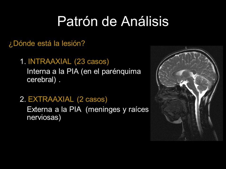 Patrón de Análisis ¿Dónde está la lesión? 1. INTRAAXIAL (23 casos) Interna a la PIA (en el parénquima cerebral). 2. EXTRAAXIAL (2 casos) Externa a la