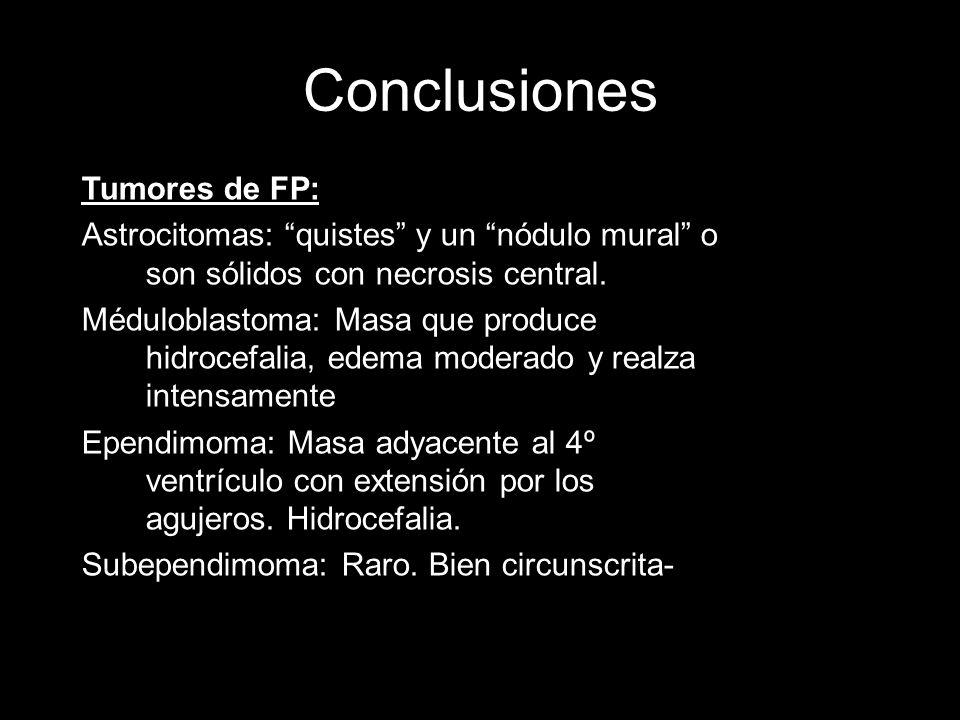 Conclusiones Tumores de FP: Astrocitomas: quistes y un nódulo mural o son sólidos con necrosis central. Méduloblastoma: Masa que produce hidrocefalia,