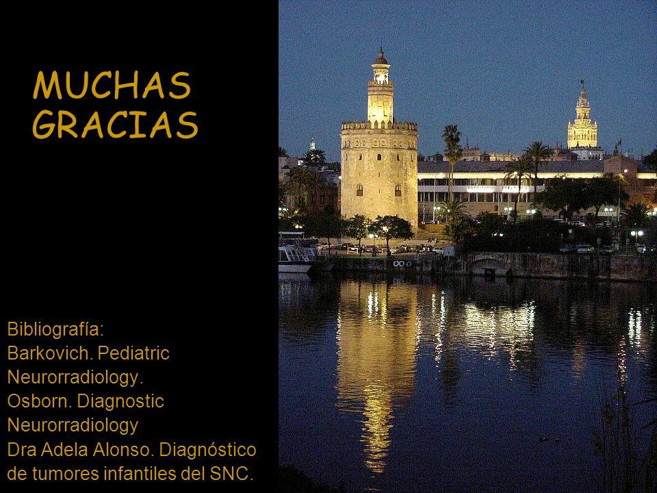 MUCHAS GRACIAS Bibliografía: Barkovich. Pediatric Neurorradiology. Osborn. Diagnostic Neurorradiology Dra Adela Alonso. Diagnóstico de tumores infanti