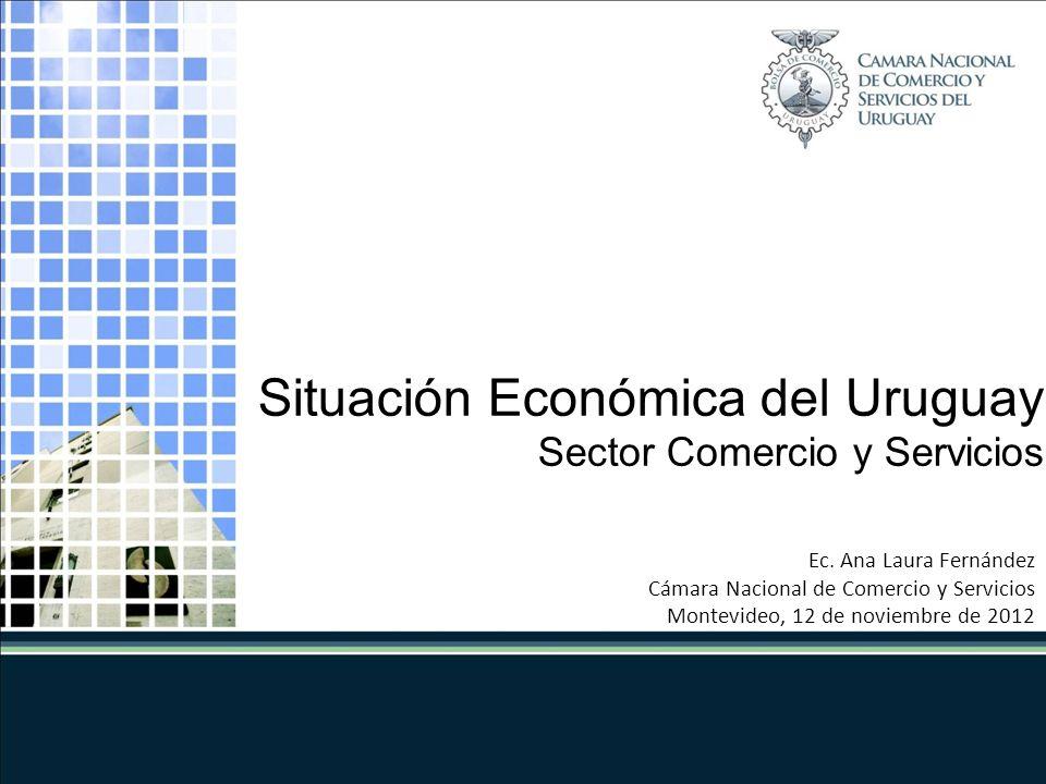 Ec. Ana Laura Fernández Cámara Nacional de Comercio y Servicios Montevideo, 12 de noviembre de 2012 Situación Económica del Uruguay Sector Comercio y