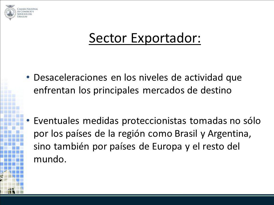 Sector Exportador: Desaceleraciones en los niveles de actividad que enfrentan los principales mercados de destino Eventuales medidas proteccionistas tomadas no sólo por los países de la región como Brasil y Argentina, sino también por países de Europa y el resto del mundo.