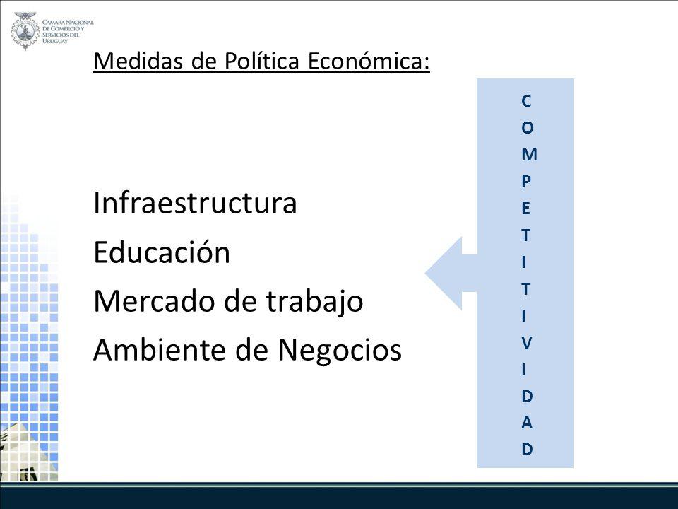 Medidas de Política Económica: Infraestructura Educación Mercado de trabajo Ambiente de Negocios