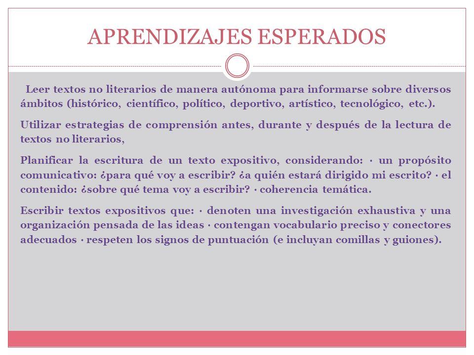 TEXTOS NO LITERARIOS Texto Expositivo COLEGIO SANTA SABINA - CONCEPCION EDUCACION DE CALIDAD CON PROYECCION DE FUTURO LLEUQUE 1477 VILLA UNIVERSIDAD D