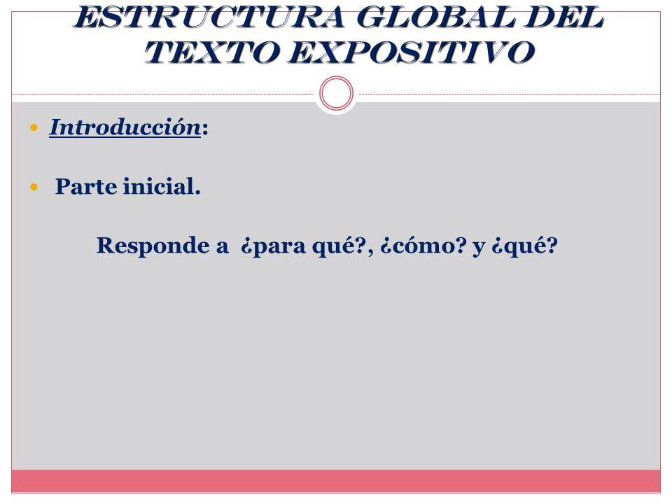 ORGANIZACIÓN DEL TEXTO SEGÚN UN ORDEN O LÓGICA ESTRUCTURA GLOBAL