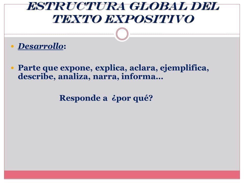 Estructura global del texto expositivo Introducción: Parte inicial. Responde a ¿para qué?, ¿cómo? y ¿qué?