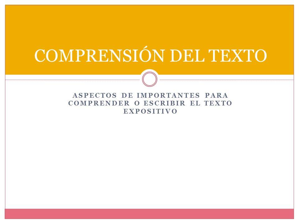 Estructura global del texto expositivo Conclusión: Parte final en la que se sintetiza o recapitula el tema; se pueden presentar las conclusiones, las