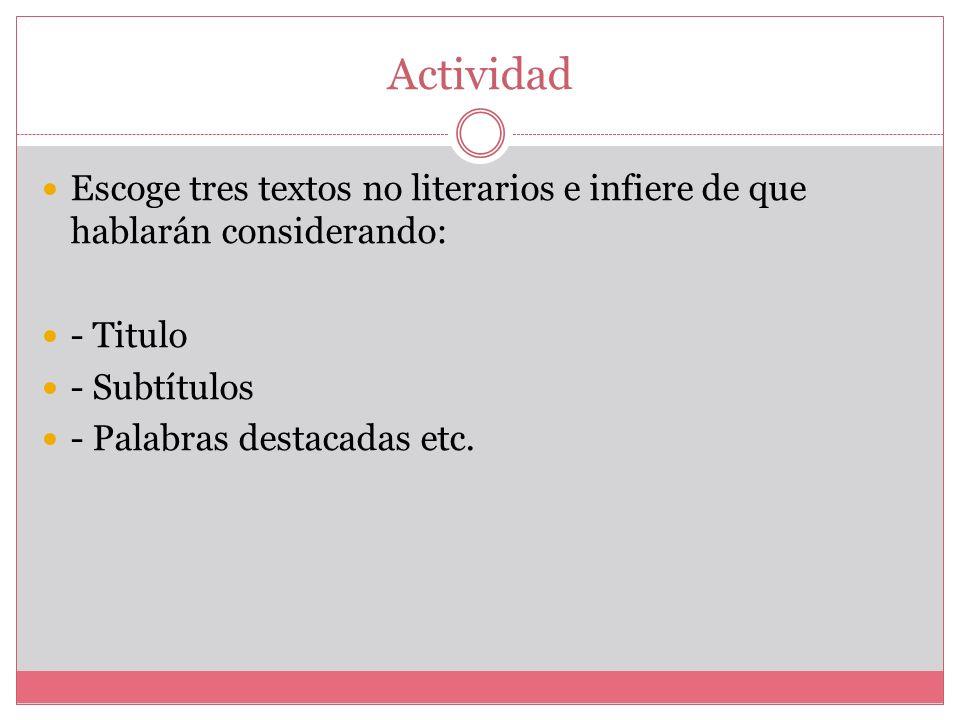 Subtítulos Sirven para separar pautas de lectura en textos extensos, o para anticipar el contenido parcial que los siguen. En los artículos periodísti