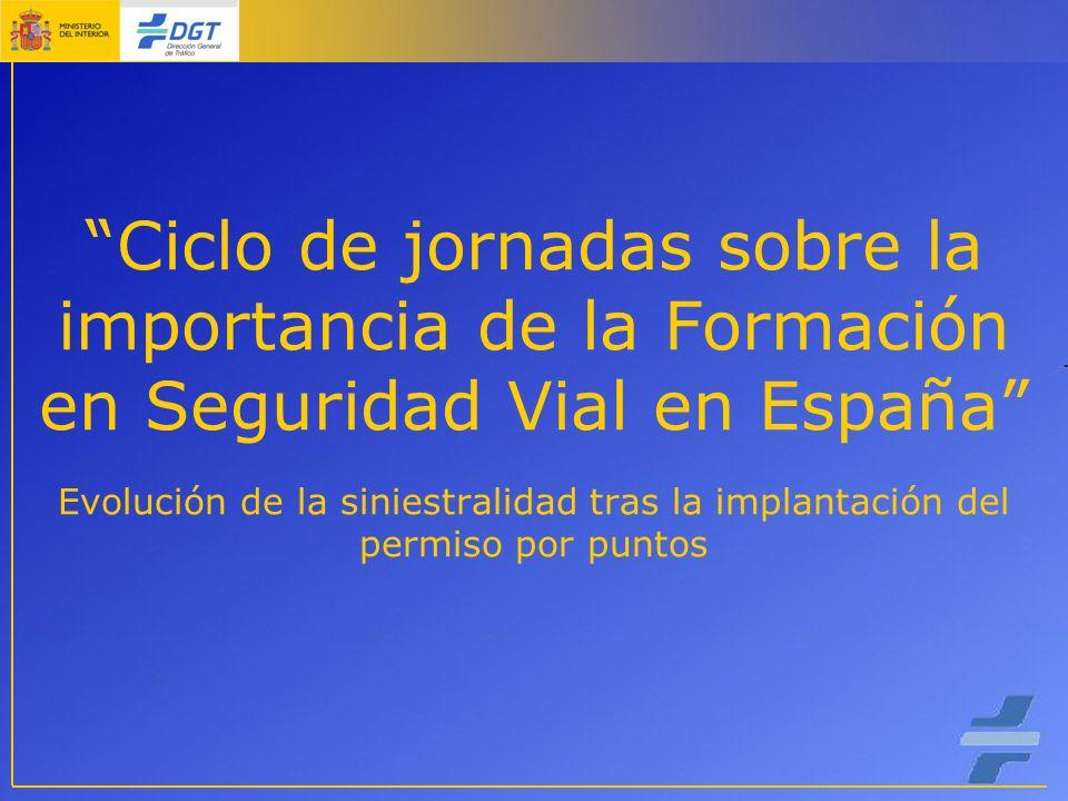 Ciclo de jornadas sobre la importancia de la Formación en Seguridad Vial en España Evolución de la siniestralidad tras la implantación del permiso por puntos