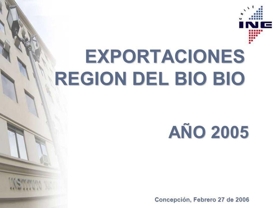 EXPORTACIONES REGION DEL BIO BIO AÑO 2005 Concepción, Febrero 27 de 2006