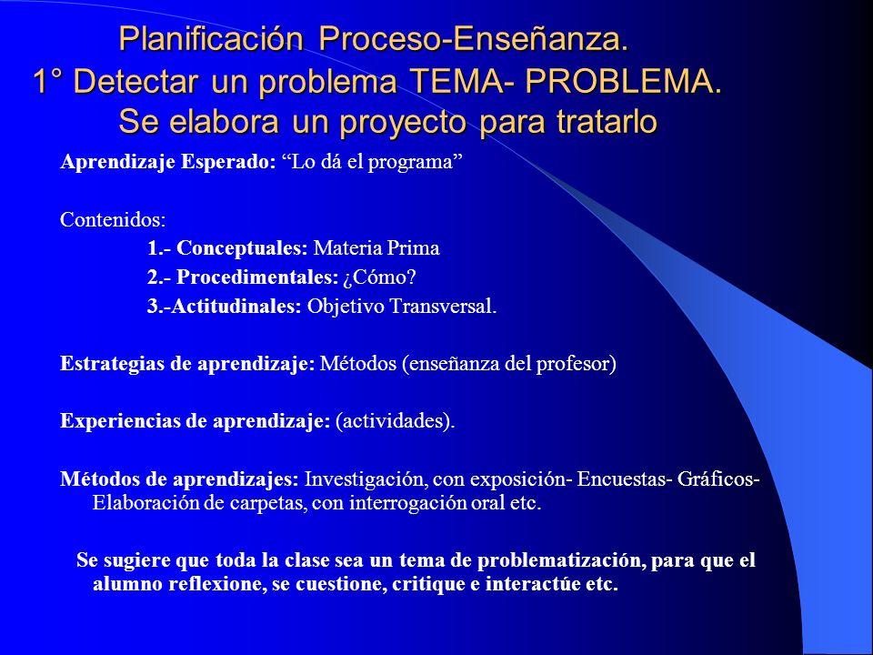 Planificación Proceso Enseñanza- Aprendizaje Sector...............Nivel......................Curso...............N° de horas..... Objetivos Fundamenta