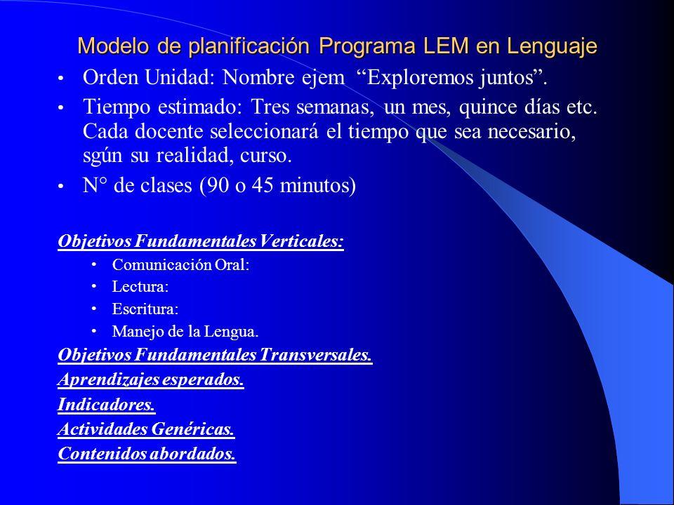 Modelo de planificación Programa LEM en Lenguaje Orden Unidad: Nombre ejem Exploremos juntos.