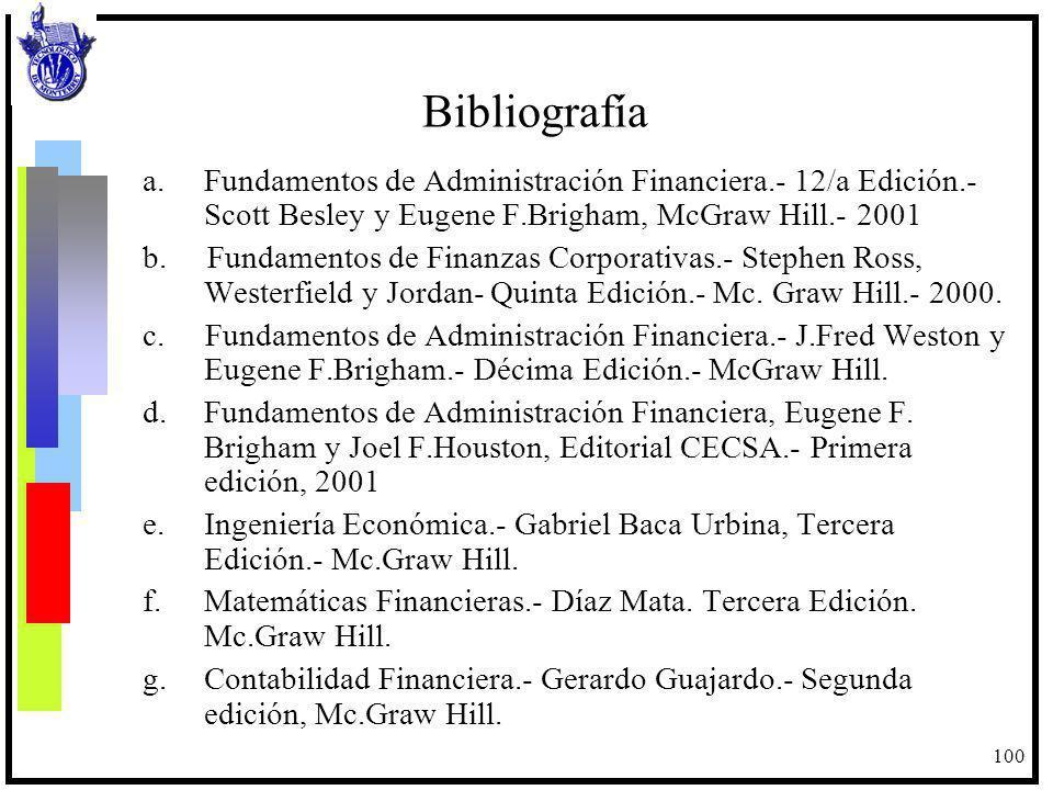 100 Bibliografía a.Fundamentos de Administración Financiera.- 12/a Edición.- Scott Besley y Eugene F.Brigham, McGraw Hill.- 2001 b. Fundamentos de Fin