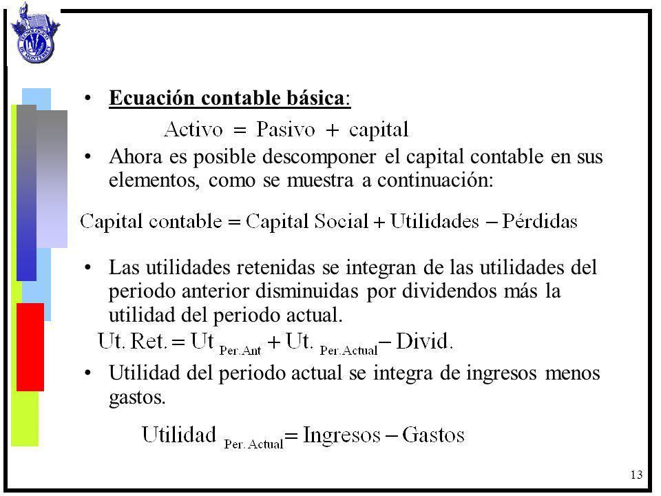 13 Ecuación contable básica: Ahora es posible descomponer el capital contable en sus elementos, como se muestra a continuación: Las utilidades retenid
