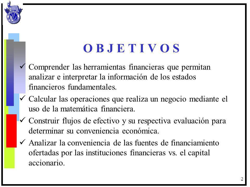 2 O B J E T I V O S Comprender las herramientas financieras que permitan analizar e interpretar la información de los estados financieros fundamentale