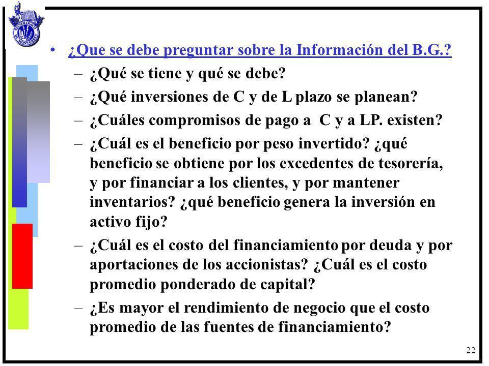 22 ¿Que se debe preguntar sobre la Información del B.G.? –¿Qué se tiene y qué se debe? –¿Qué inversiones de C y de L plazo se planean? –¿Cuáles compro