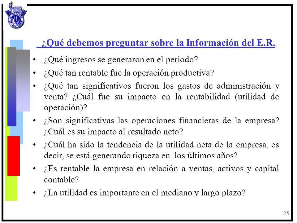 25 ¿Qué debemos preguntar sobre la Información del E.R. ¿Qué ingresos se generaron en el periodo? ¿Qué tan rentable fue la operación productiva? ¿Qué