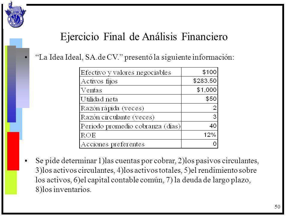 50 Ejercicio Final de Análisis Financiero La Idea Ideal, SA.de CV. presentó la siguiente información: Se pide determinar 1)las cuentas por cobrar, 2)l