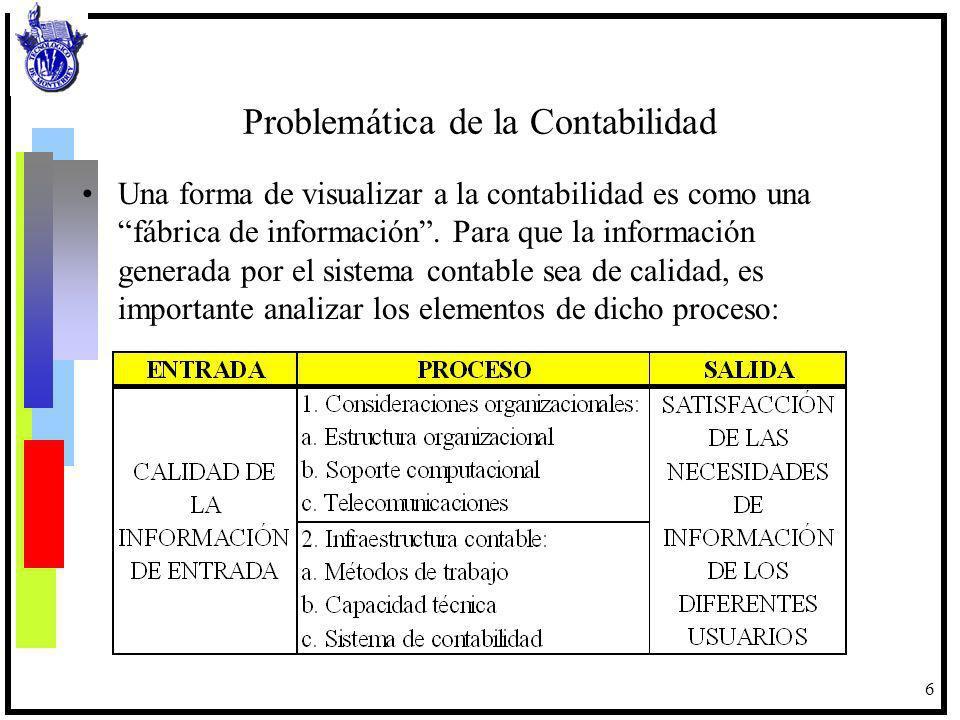 6 Problemática de la Contabilidad Una forma de visualizar a la contabilidad es como una fábrica de información. Para que la información generada por e