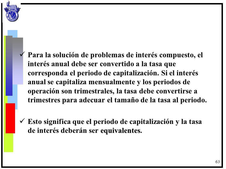 63 Para la solución de problemas de interés compuesto, el interés anual debe ser convertido a la tasa que corresponda el periodo de capitalización. Si
