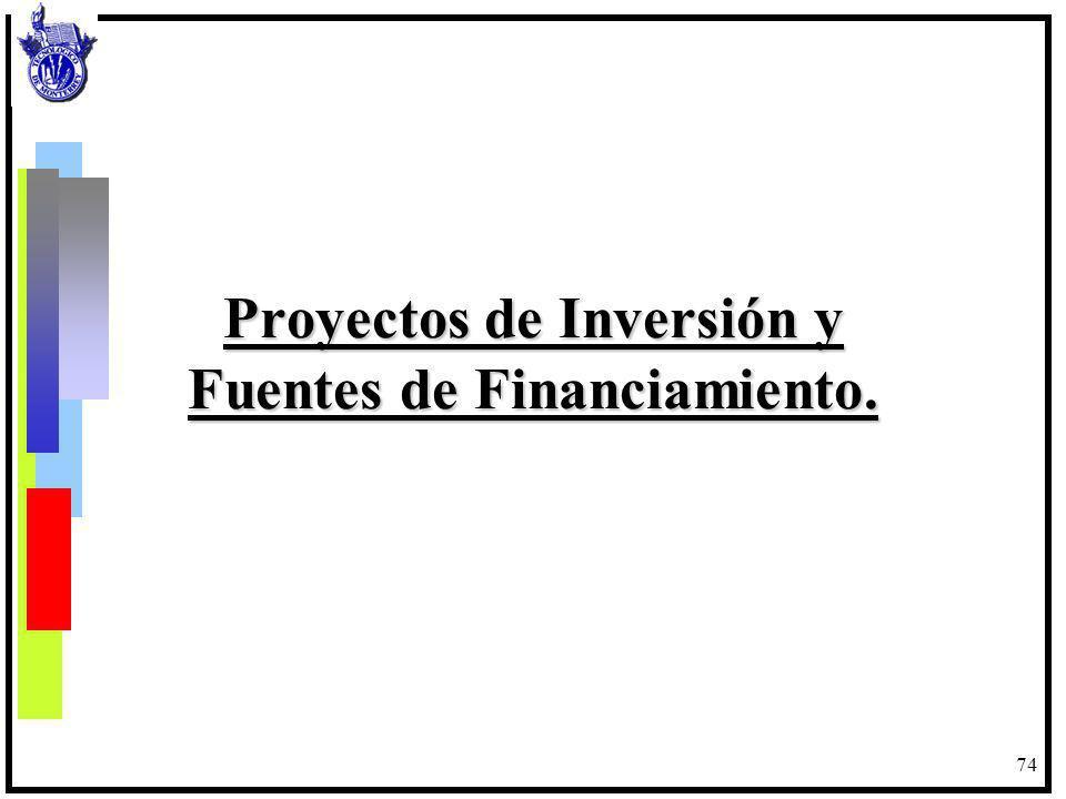 74 Proyectos de Inversión y Fuentes de Financiamiento.