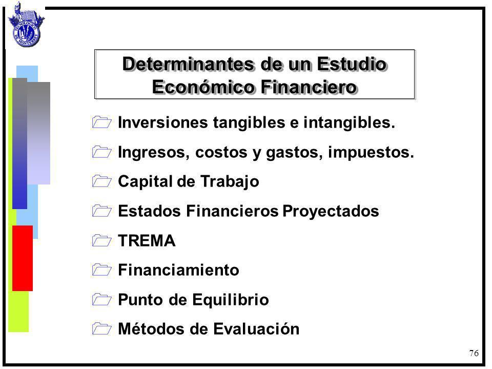 76 Inversiones tangibles e intangibles. Ingresos, costos y gastos, impuestos. Capital de Trabajo Estados Financieros Proyectados TREMA Financiamiento