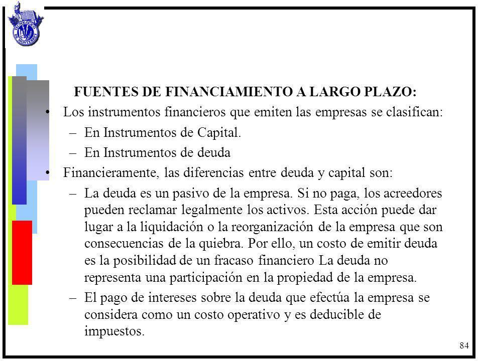 84 FUENTES DE FINANCIAMIENTO A LARGO PLAZO: Los instrumentos financieros que emiten las empresas se clasifican: –En Instrumentos de Capital. –En Instr
