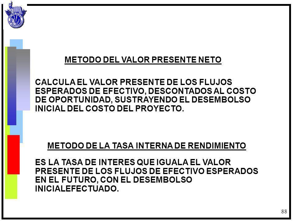 88 METODO DEL VALOR PRESENTE NETO CALCULA EL VALOR PRESENTE DE LOS FLUJOS ESPERADOS DE EFECTIVO, DESCONTADOS AL COSTO DE OPORTUNIDAD, SUSTRAYENDO EL D