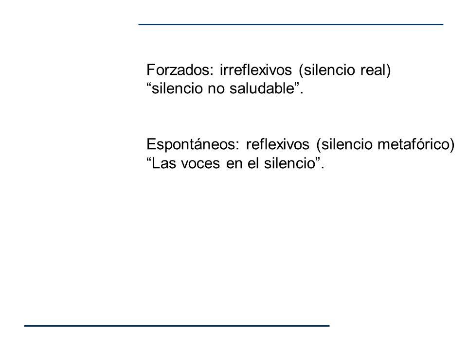 Forzados: irreflexivos (silencio real) silencio no saludable. Espontáneos: reflexivos (silencio metafórico) Las voces en el silencio.
