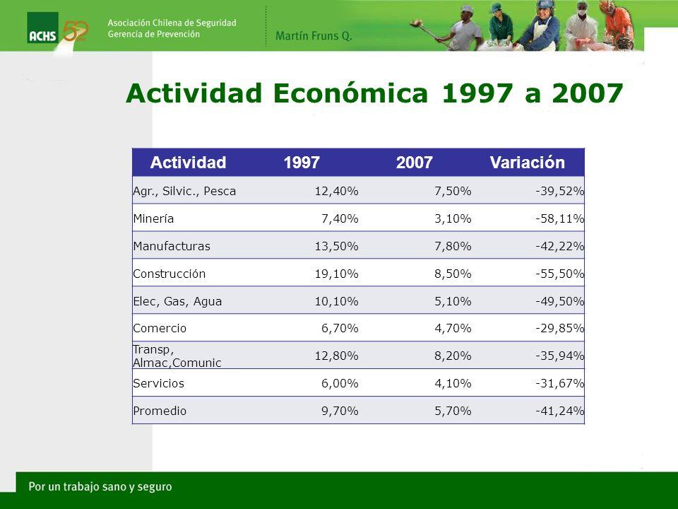Actividad Económica 1997 a 2007 Actividad19972007Variación Agr., Silvic., Pesca12,40%7,50%-39,52% Minería7,40%3,10%-58,11% Manufacturas13,50%7,80%-42,