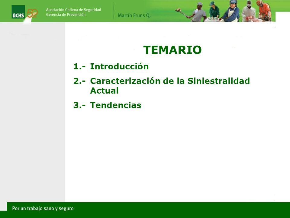 TEMARIO 1.-Introducción 2.-Caracterización de la Siniestralidad Actual 3.-Tendencias