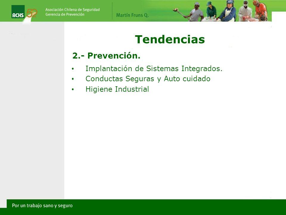 Implantación de Sistemas Integrados. Conductas Seguras y Auto cuidado Higiene Industrial Tendencias 2.- Prevención.