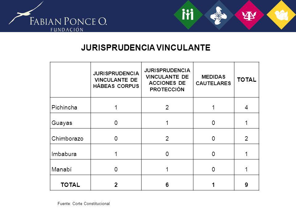 JURISPRUDENCIA VINCULANTE JURISPRUDENCIA VINCULANTE DE HÁBEAS CORPUS JURISPRUDENCIA VINCULANTE DE ACCIONES DE PROTECCIÓN MEDIDAS CAUTELARES TOTAL Pichincha1214 Guayas0101 Chimborazo0202 Imbabura1001 Manabí0101 TOTAL2619 Fuente: Corte Constitucional