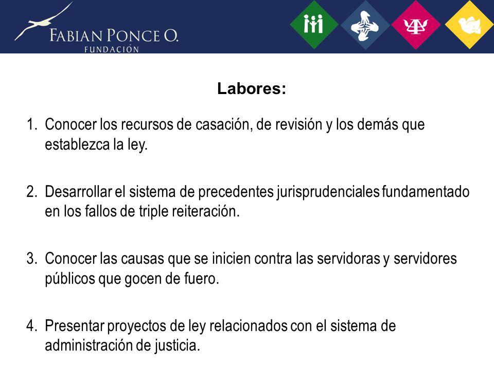 Labores: 1.Conocer los recursos de casación, de revisión y los demás que establezca la ley.