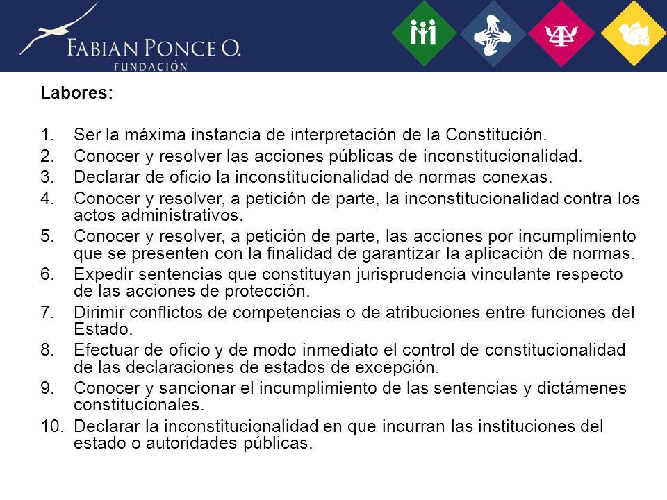 Labores: 1.Ser la máxima instancia de interpretación de la Constitución.